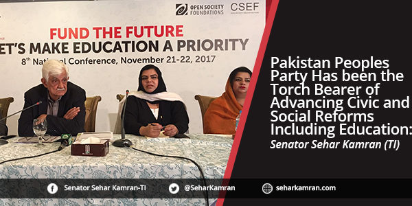 Pakistan Peoples Party Has been the Torch Bearer of Advancing Civic and Social Reforms Including Education: Senator Sehar Kamran (TI)