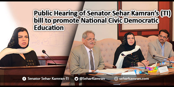 Public Hearing of Senator Sehar Kamran's (TI) bill to promote National Civic Democratic Education