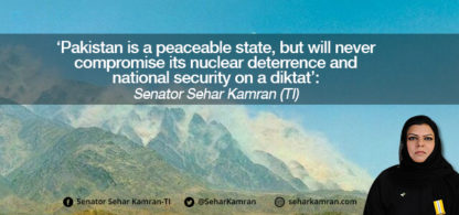 'Pakistan is a peaceable state, but will never compromise its nuclear deterrence and national security on a diktat': Senator Sehar Kamran (TI)